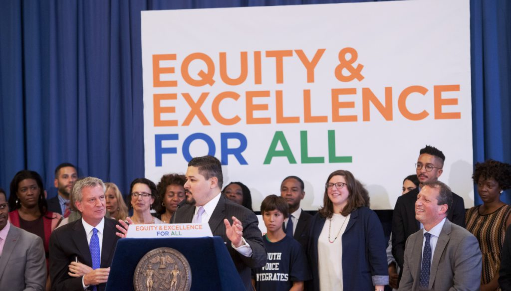 Mayor Bill de Blasio and Schools Chancellor Richard Carranza (at podium) on Thursday announced their approval of a plan to increase diversity at middle schools in Brooklyn's District 15, which stretches from the southern end of Brooklyn Heights to Red Hook and Park Slope. Photo by Michael Appleton/Mayoral Photography Office