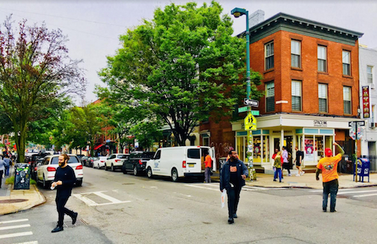 Welcome to Williamsburg's Bedford Avenue, the home of upscale retailers such as Space NK. Eagle photos by Lore Croghan