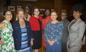 Members of the Brooklyn Women's Bar Association held a speed networking event that was designed to help inexperienced attorneys connect with judges. Pictured from left: Hon. Lillian Wan, President Carrie Anne Cavallo, Hon. Sylvia Ash, Hon. Miriam Cyrulnik, Hon. Genine Edwards, Hon. Rachel Adams, Hon. Cheryl Gonzales and Natoya McGhie. Eagle photo by Rob Abruzzese