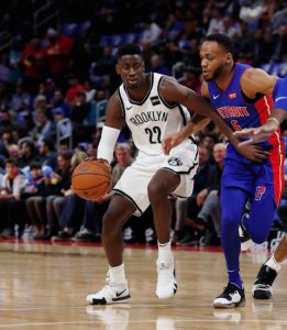 Caris LeVert led all scorers with 27 points but committed a costly turnover in the closing seconds as the Nets suffered a season-opening 103-100 loss in Detroit Wednesday night. AP Photo by Carlos Osorio