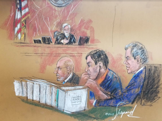 Attorneys for Joaquin Guzman Loera, pictured in blue wearing headphones in the courtroom sketch, tried for the fifth time to delay the start of the trial, which will begin with jury selection on Monday. Eagle sketch by Shirley and Andrea Shepard