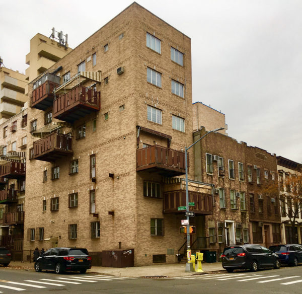 This building with eye-catching balconies stands on the corner of Marcy Avenue and Lorimer Street.