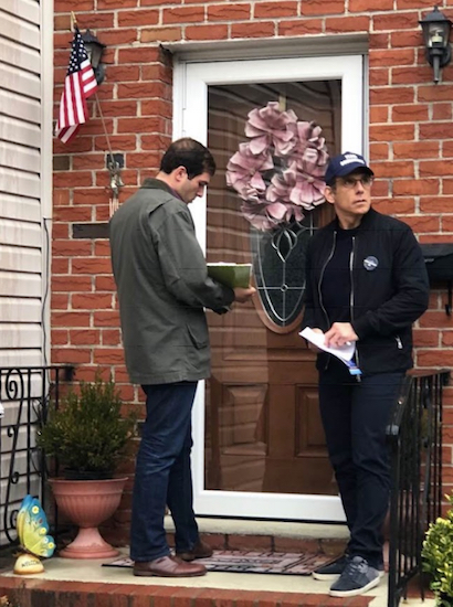 Actor Ben Stiller canvassing with Democratic State Senate candidate Andrew Gounardes. Photo courtesy of Facebook