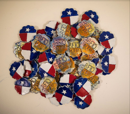 Beto-boosting porcelain clay tokens made by Beriah Wall, who has been crafting similar coins since the 1980s. Photo by Robert Nickelsberg