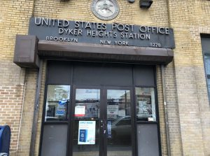 The Dyker Heights Post Office is at the center of a dispute over parking spaces in the neighborhood. Eagle photo by Paula Katinas