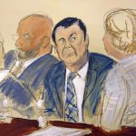 "In this courtroom sketch Joaquin ""El Chapo"" Guzman, center, sits next to his defense attorney Eduardo Balazero, left, Elizabeth Williams via AP"