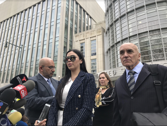 "A defense attorney for Joaquin ""El Chapo"" Guzman has been barred from bringing a cellphone to court from now on, but his wife Emma Coronel Aispuro (pictured) was not punished. Eagle photo by Paul Frangipane"