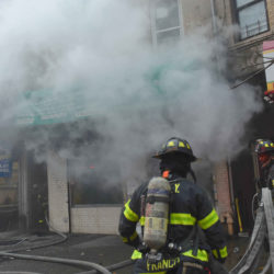 Firefighters battle two-alarm fire in a medical clinic on Flatbush Avenue.