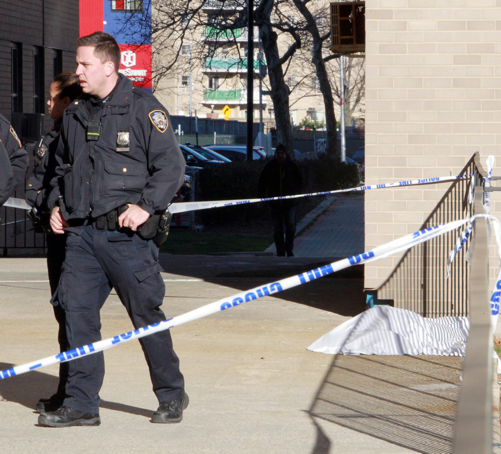 Cops at the scene of the suicide. Photo by Steve Solomonson