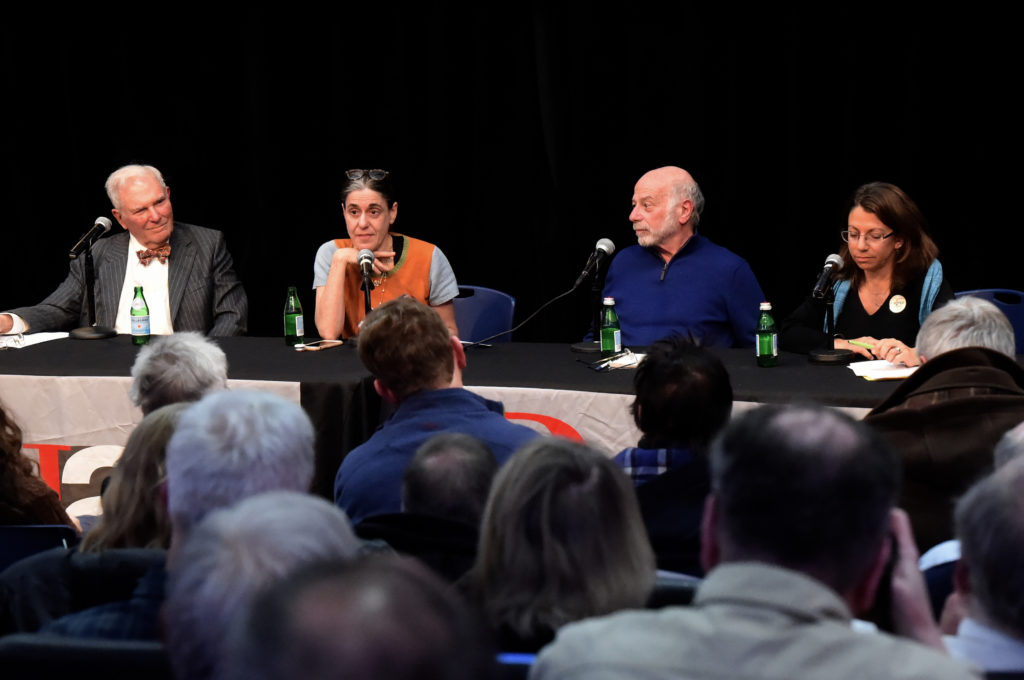 "Ginia Bellafante (second from left) moderated the keynote panel discussion ""Who Is Planning Brooklyn's Future?"" at the Brooklyn Heights Association's annual meeting Tuesday, featuring (from left) Alexander Garvin, Tom Angotti and Michelle de la Uz. Eagle photos by Todd Maisel"
