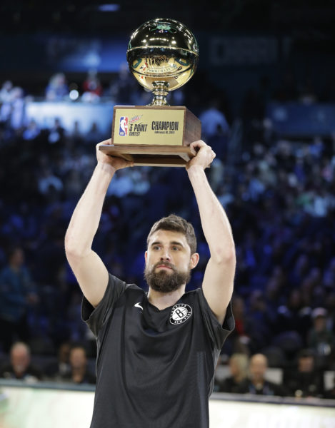Joe Harris outshot Golden State's Steph Curry to win the NBA All-Star 3-Point Shootout in Charlotte, North Carolina this past weekend, becoming the first player in Nets history to capture the coveted trophy.(AP Photo/Chuck Burton)