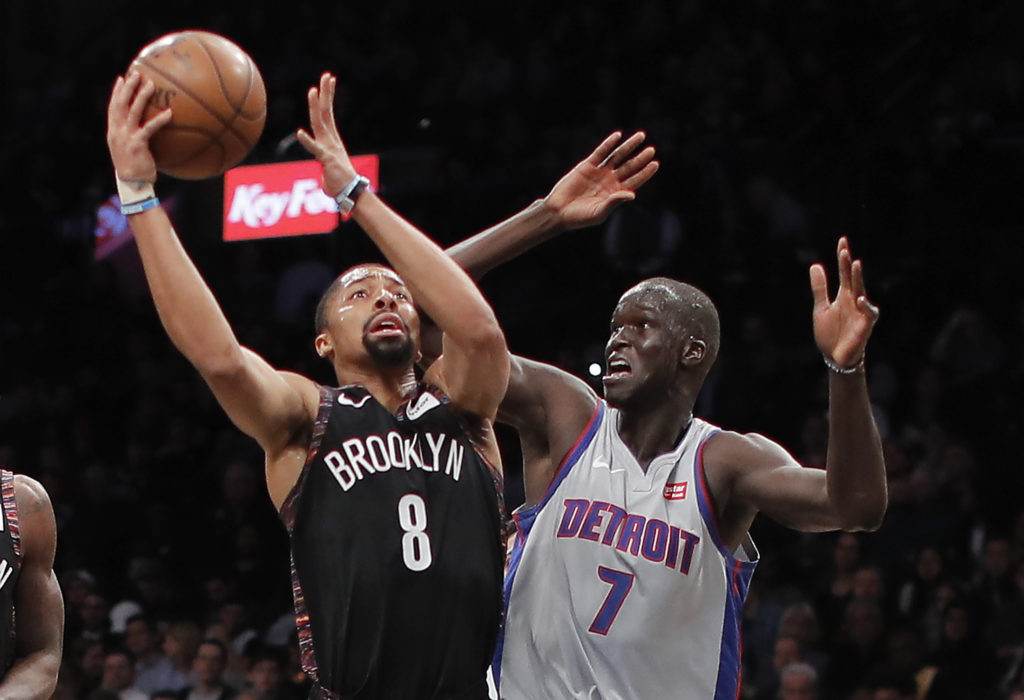 Spencer Dinwiddie and the rest of the Brooklyn Nets prepared for their seven-game road trip by dominating the Detroit Pistons from start to finish in their key Eastern Conference showdown Monday night at Barclays Center. (AP Photo/Julie Jacobson)