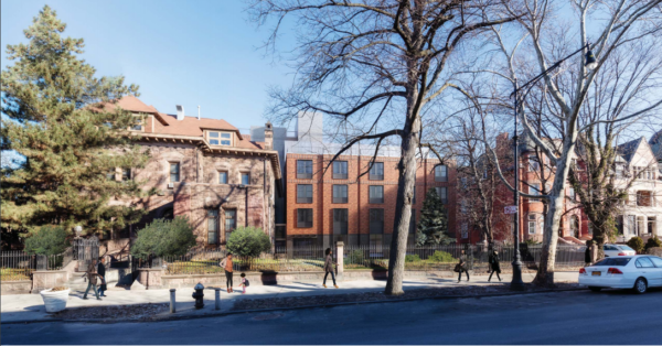 The new building that's second from left in this image would have occupied more than half the Dean Sage Mansion's garden. Rendering by Dattner Architects and Easton Architects via the Landmarks Preservation Commission