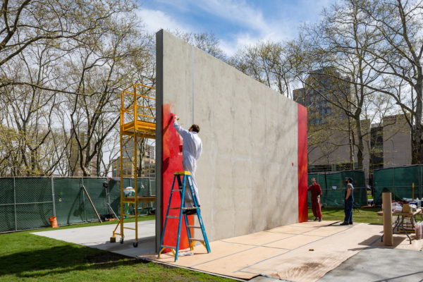 Harold Ancart works on the mural in April. Photo: Nicholas Knight, Courtesy Public Art Fund, NY