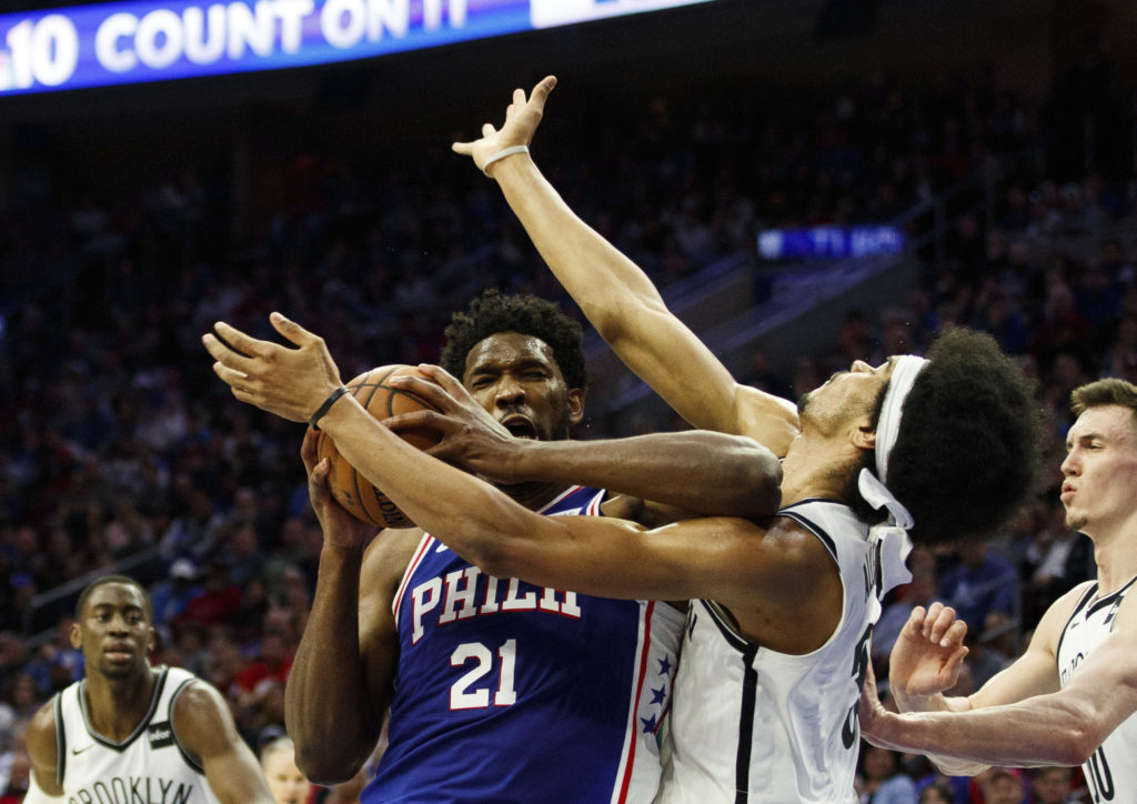 Joel Embiid's vicious elbow on Jarrett Allen drew blood and seemed to spark the Sixers and take a little of the fight out of the Brooklyn Nets Monday night in Philadelphia. AP Photo/Chris Szagola