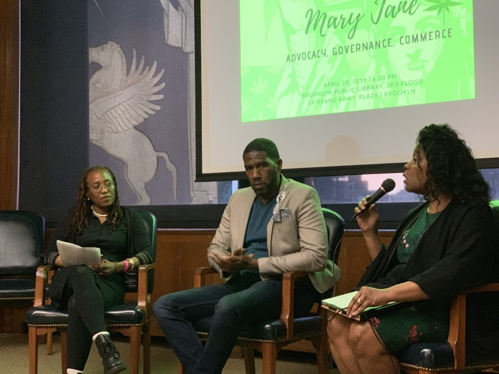 Jumaane Williams, speaking at a forum on marijuana legalization Monday, disclosed that he sold marijuana in high school. Eagle photo by Noah Goldberg.