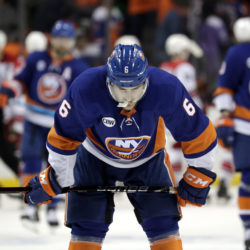 Defenseman Ryan Pulock and the rest of the Islanders were left deflated following two excruciating home losses to the Carolina Hurricanes in Downtown Brooklyn this past weekend. (AP Photo/Julio Cortez)