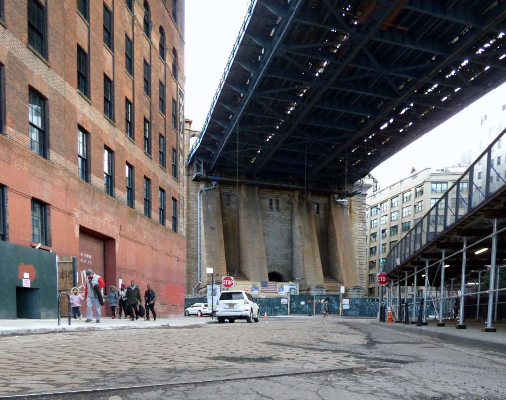 The Adams Street Library in DUMBO, the first new branch to open in Brooklyn in 36 years, is in the works in the building shown in the photo above to the left. Eagle photo by Mary Frost