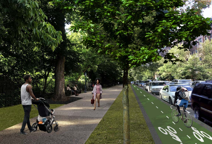 Here's a look at the bike lane the Parks Department plans to build in cooperation with the Department of Transportation on Ocean Avenue. Prospect Park Alliance rendering via the Landmarks Preservation Commission