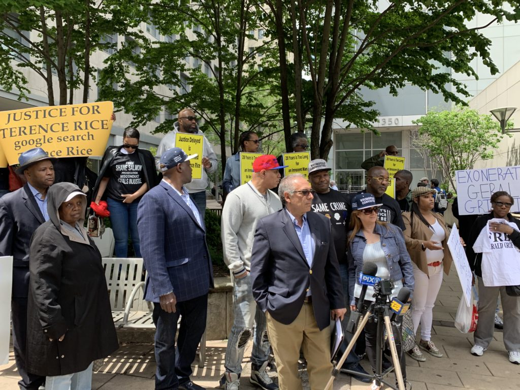 Activists with the group Families of the Wrongfully Convicted rallied outside the Brooklyn District Attorney's office Thursday. Eagle photo by Noah Goldberg.