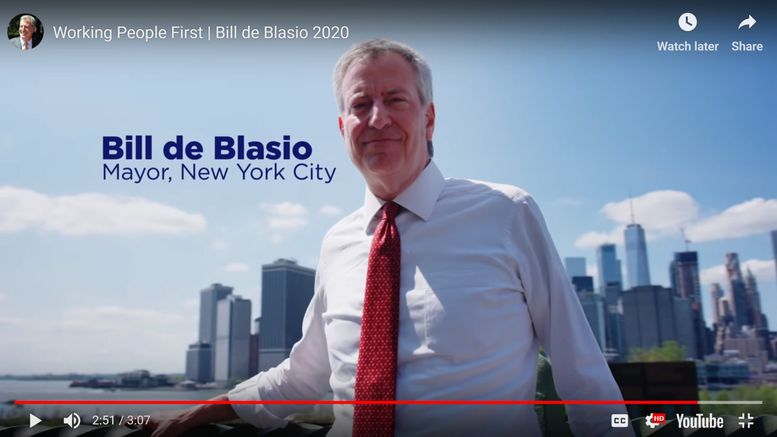 A tone-deaf moment: Mayor Bill de Blasio stands on the Brooklyn Heights Promenade in a presidential campaign video released Thursday. He recently proposed replacing the Promenade with a six-lane highway during BQE reconstruction. Screen grab via de Blasio campaign video.
