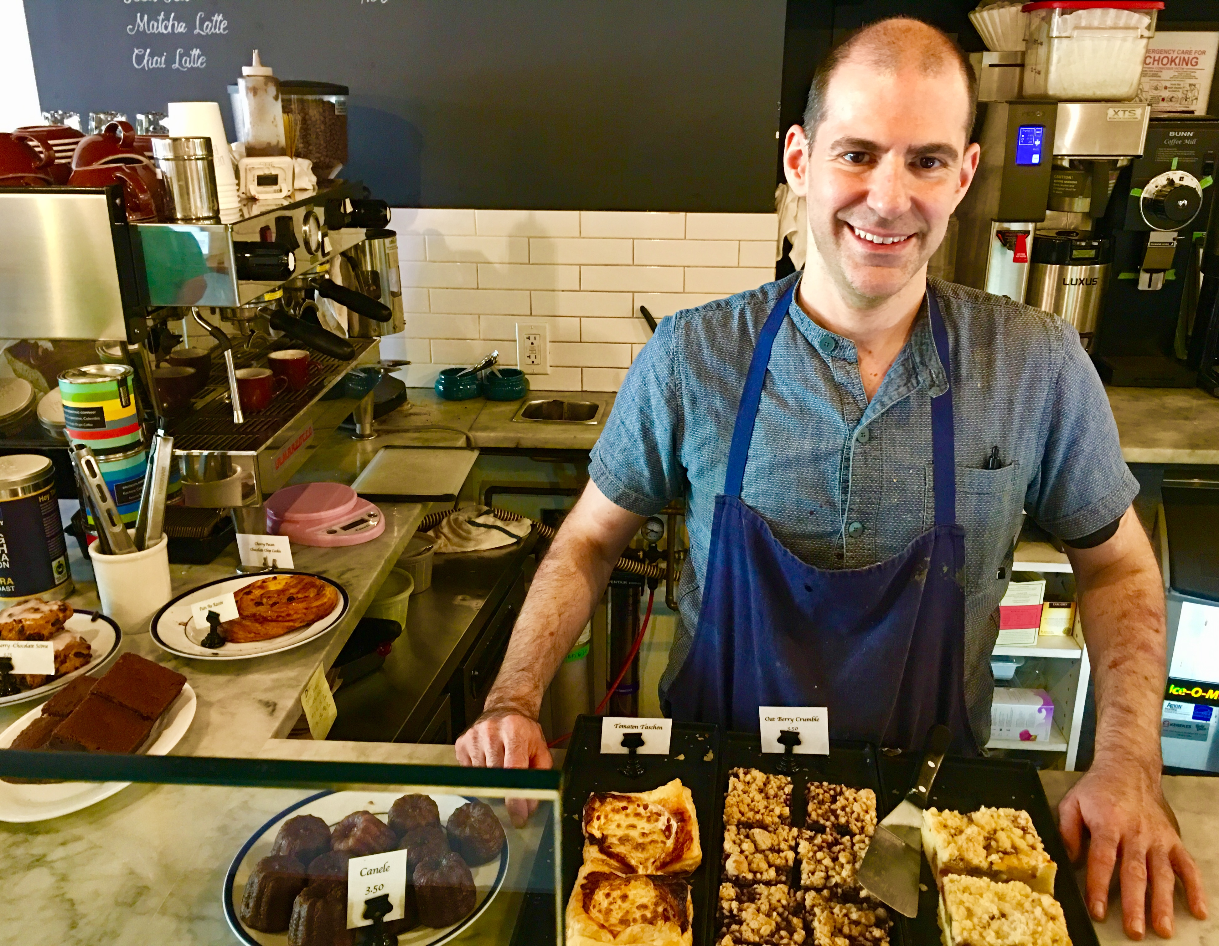 Greg Barbiero co-owns Der Pioneer, a Church Avenue pastry shop and cafe. Eagle photo by Lore Croghan