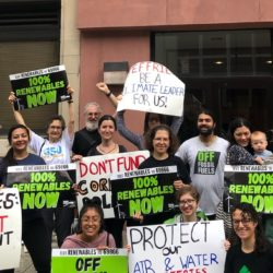 Environmental activists rallied outside the office of Representative Hakeem Jeffries in Fort Greene on Tuesday, pushing him to support a clean air amendment to an energy bill. Photo courtesy of Laura Shindell at Food & Water Watch