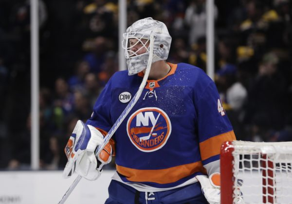 Isles goalie Robin Lehner would love to remain in Brooklyn and on Long Island next season. The franchise that picked him up off the scrap heap last summer hasn't re-signed the pending free agent as the July 1 deadline approaches. (AP Photo/Frank Franklin II)