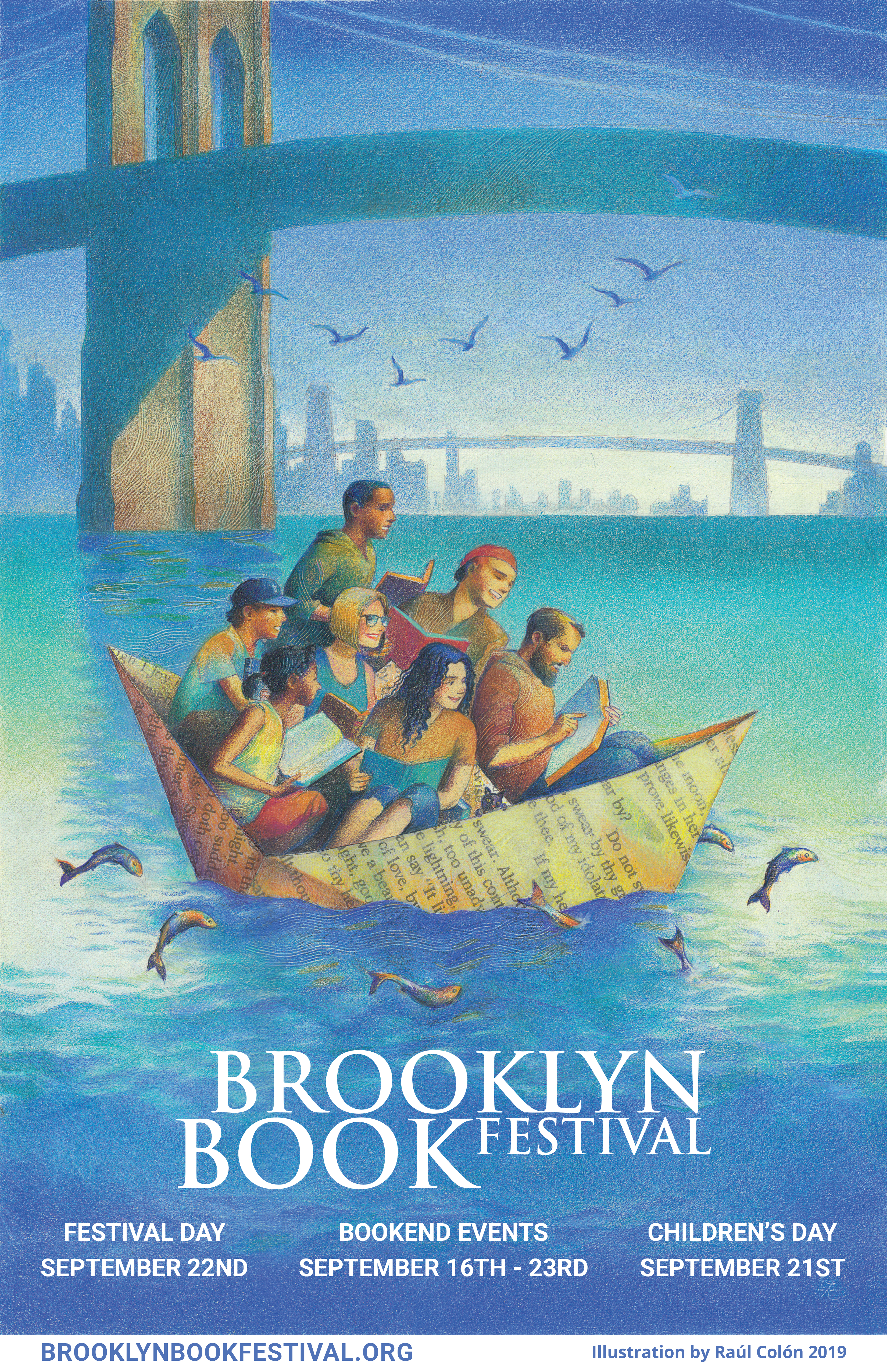 Magical artwork created by artist Raúl Colón illustrates the Brooklyn Book Festival's poster this year. The poster was unveiled this morning. Graphic courtesy of Brooklyn Book Festival