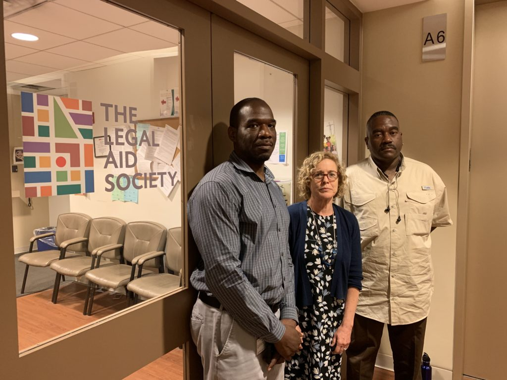 The Legal Aid Society launched a small Wrongful Conviction Unit in March, run by Alfonzo Riley (left), Elizabeth Felber (center), and Thomas McCall (right). Eagle photo by Noah Goldberg