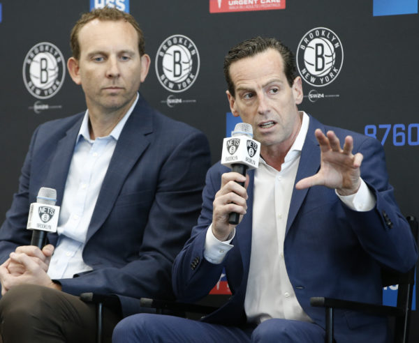 General manager Sean Marks and head coach Kenny Atkinson spent three years building the Nets into an attractive site for big-time NBA free agents. They landed Kevin Durant and Kyrie Irving on Sunday, making their plan a major success. (AP Photo/Kathy Willens)