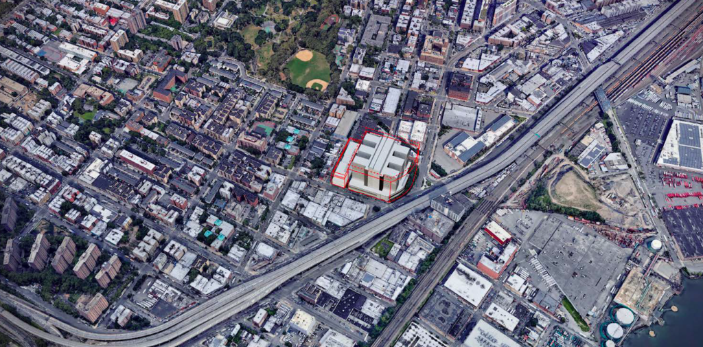 An aerial rendering of the originally proposed Bronx facility. Courtesy of MOCJ