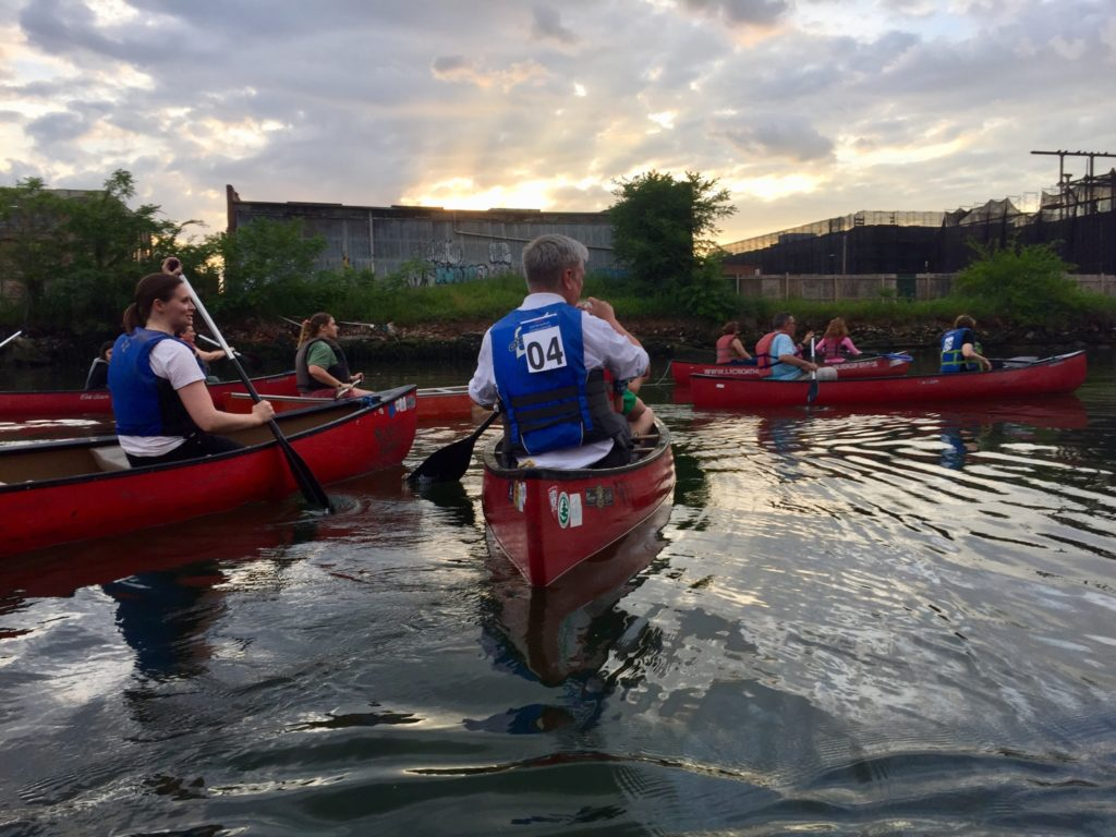 The crowd paddles out into the canal. Eagle photo by Alex Williamson
