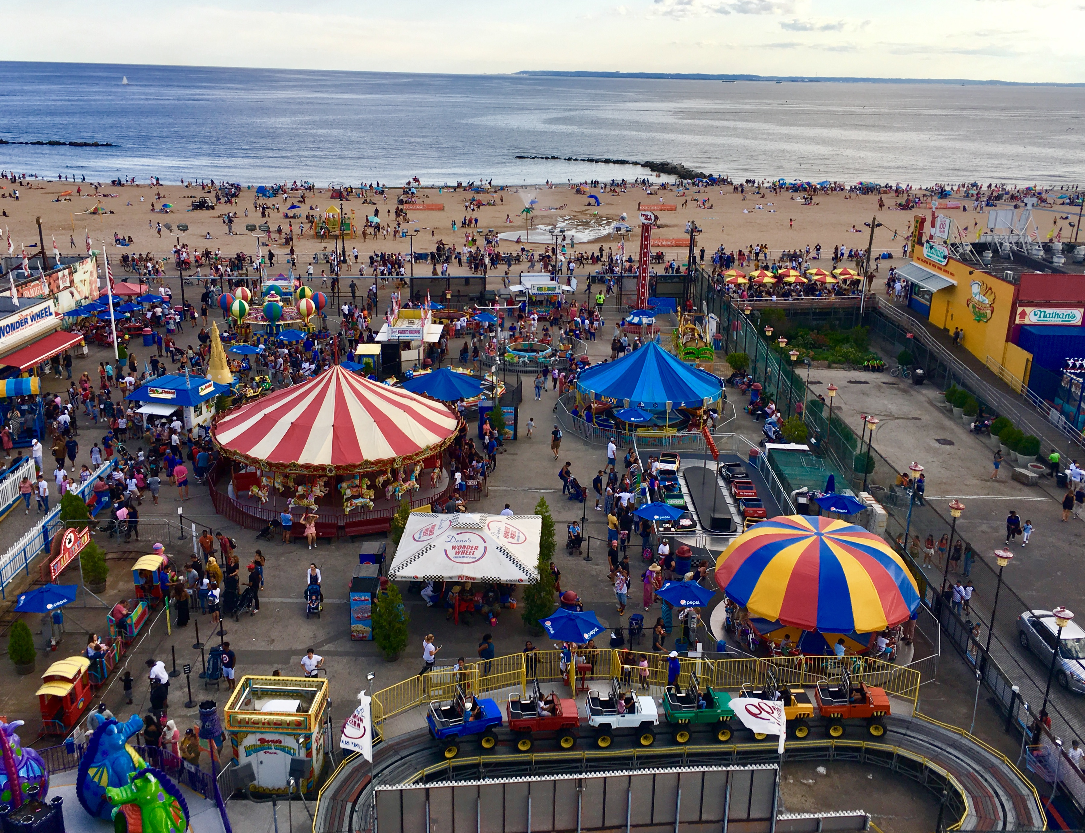Coney Island rides look like toys when you're riding the Wonder Wheel. Eagle photo by Lore Croghan