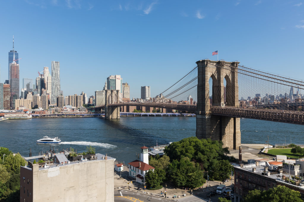 The 12th floor terrace of 25 Columbia Heights offers panoramic views of the Brooklyn Bridge and lower Manhattan. Eagle photo by Paul Frangipane
