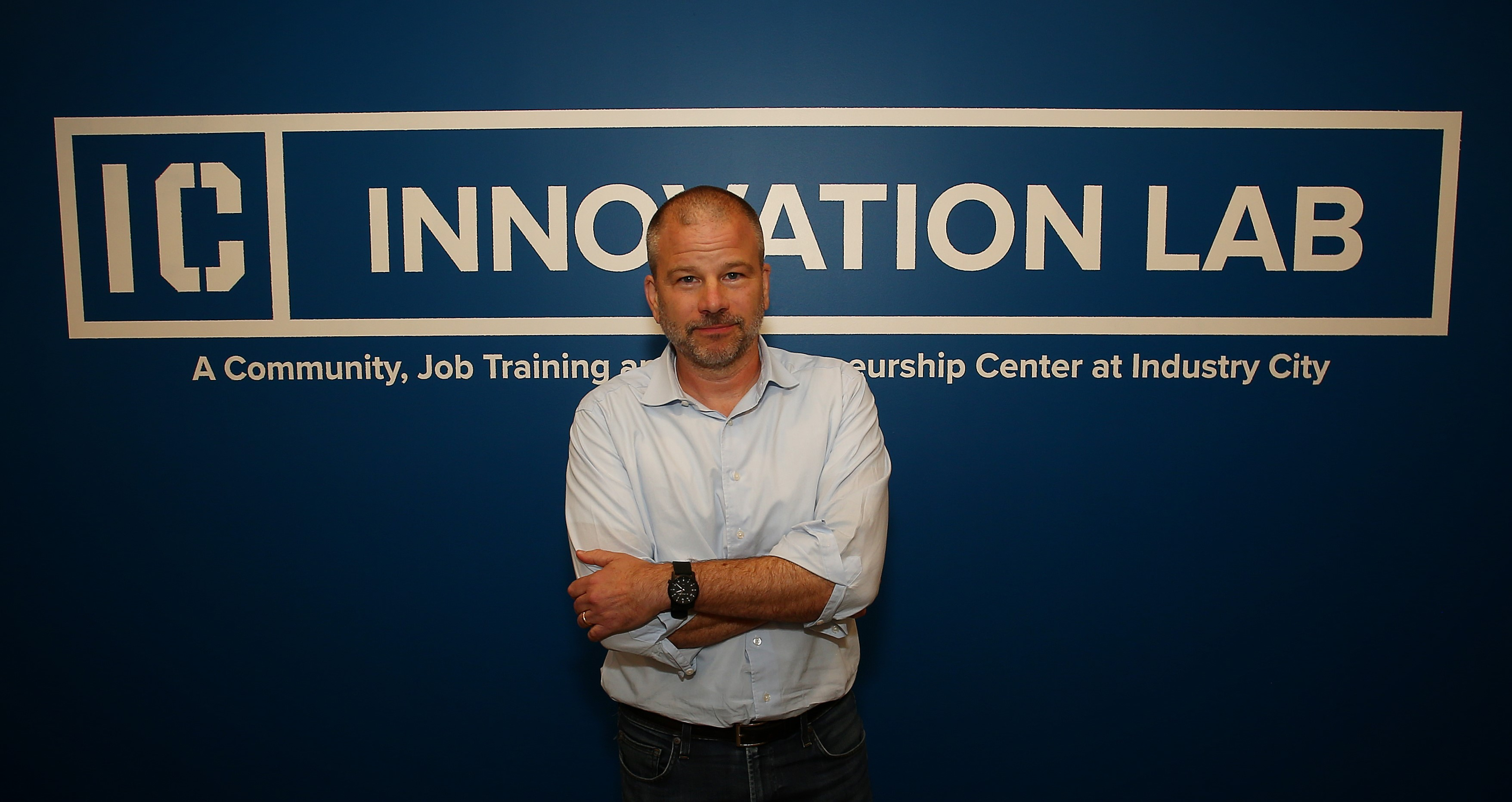 Industry City CEO Andrew Kimball in the Innovation Lab. Photo by Andy Katz