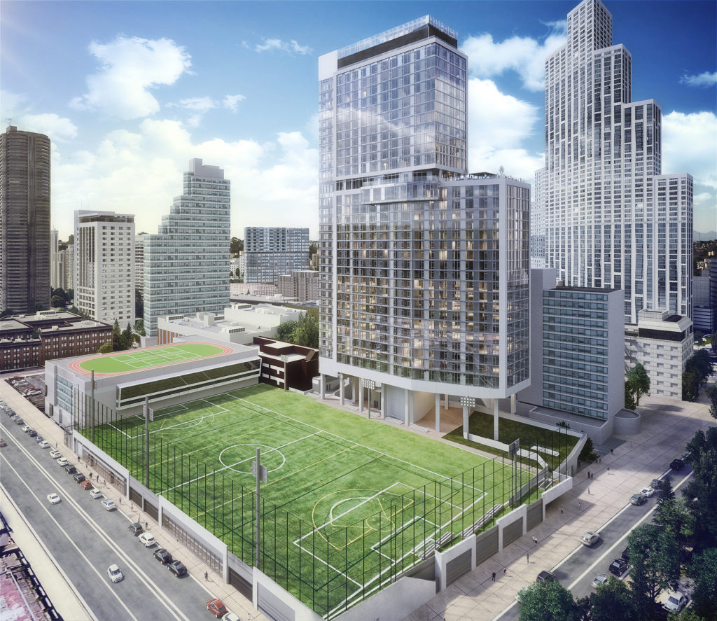 RXR Realty is constructing an apartment building and a university athletic and academic facility on LIU's Downtown Brooklyn campus. Rendering courtesy of RXR Realty