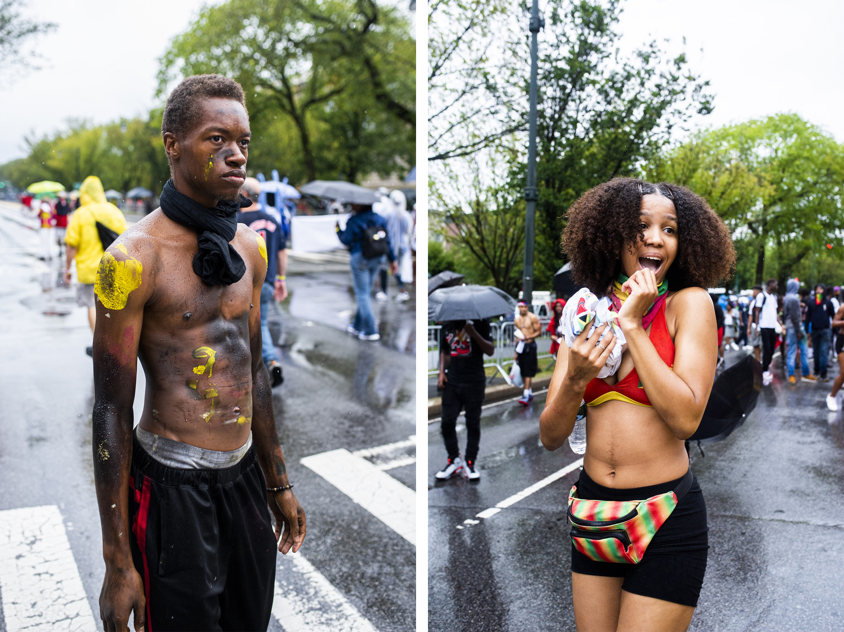 Left: A J'Ouvert attendant makes his way to the West Indian Day Parade. Right: A woman dances down Eastern Parkway.
