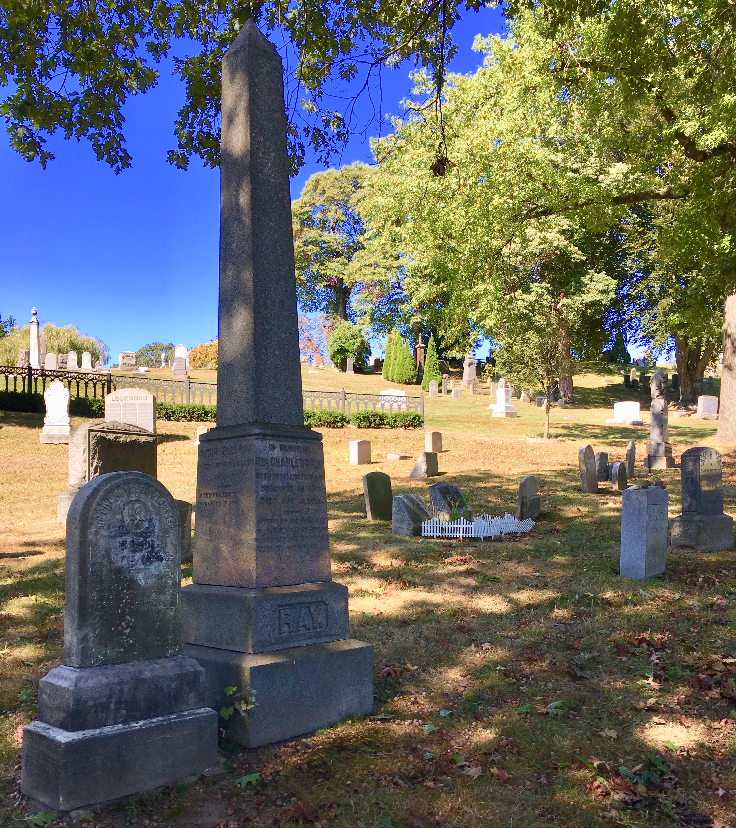 This obelisk stands at the graves of the Rev. Charles Ray and his daughter Charlotte Ray. Eagle photo by Lore Croghan