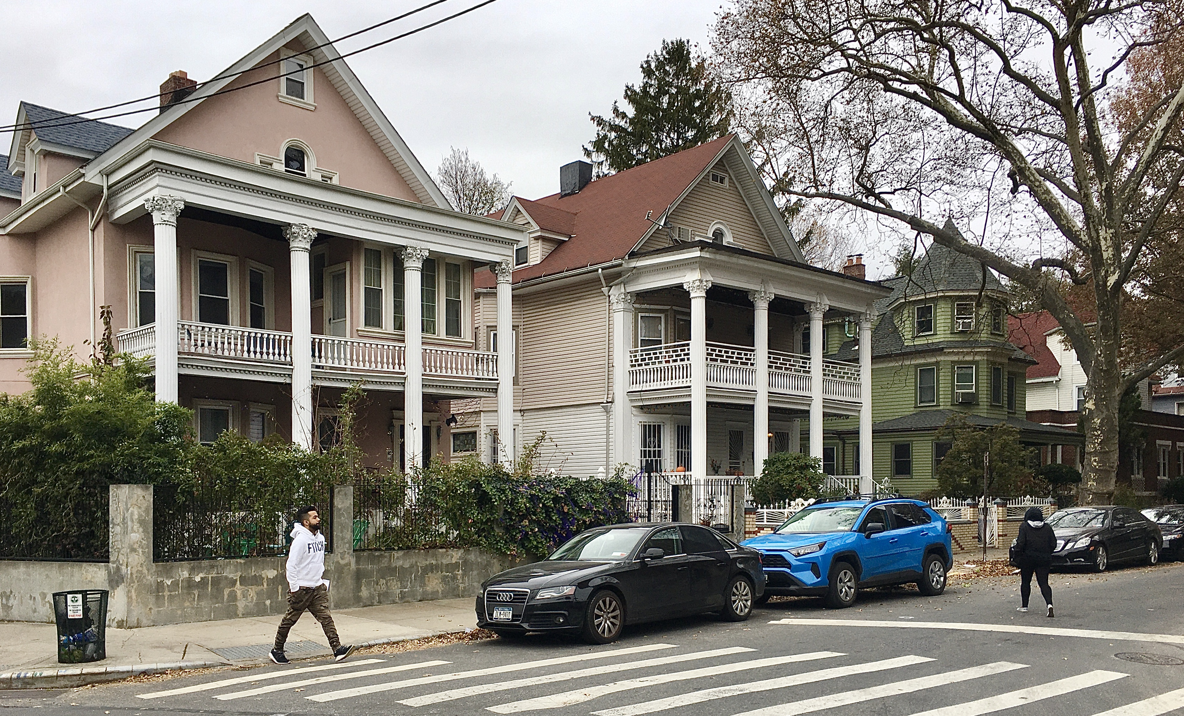 These handsome houses are 358 Westminster Road (at left) and 354 Westminster Road in Beverley Square West. Photo: Lore Croghan/Brooklyn Eagle