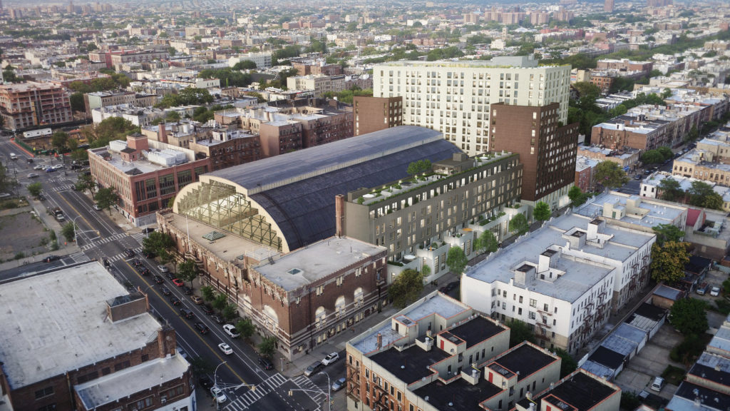 This rendering shows the developer's vision for the Bedford Union Armory project. Rendering via BFC Partners