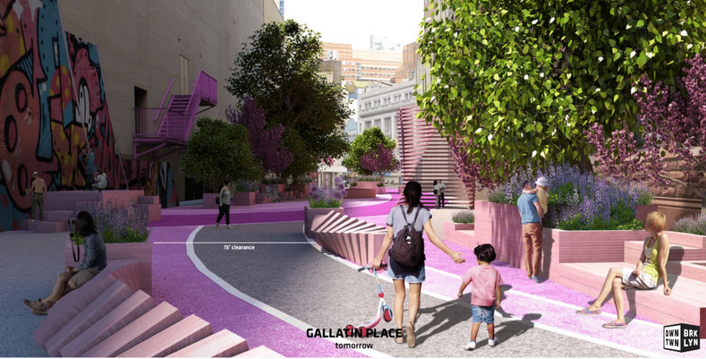 This is a design for improved pedestrian safety on Gallatin Place. Rendering via Downtown Brooklyn Partnership
