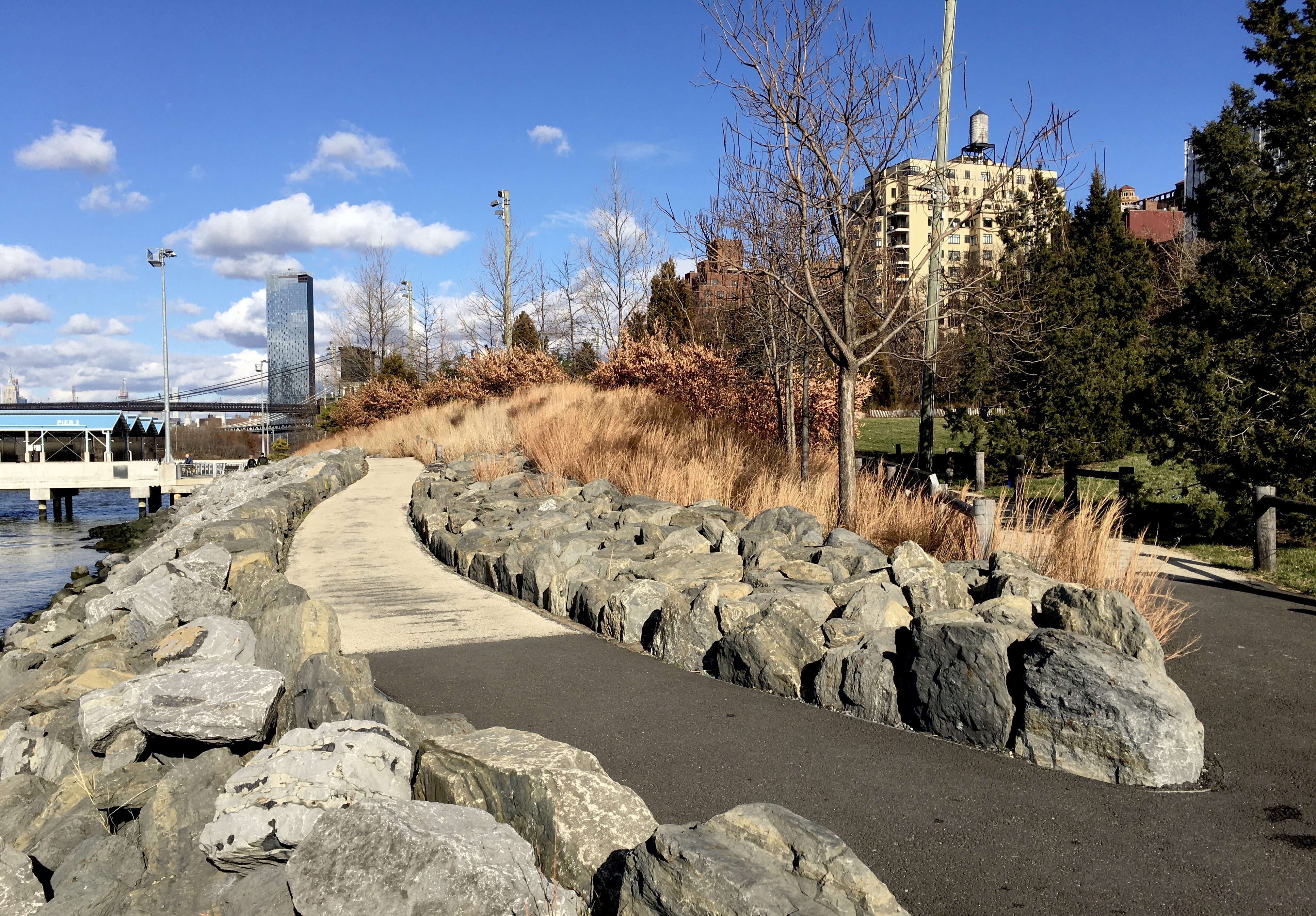 These paths can be found in Brooklyn Bridge Park's Pier 3 uplands. Photo: Lore Croghan/Brooklyn Eagle