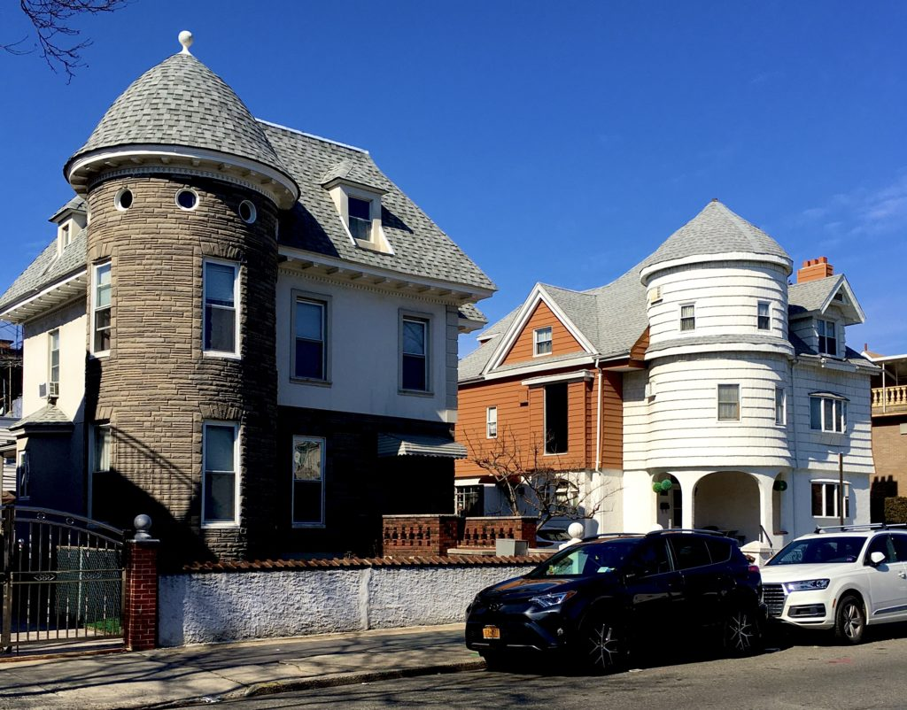 These similarly shaped Victorian houses are 8732 (at left) and 8730 20th Ave. in Bath Beach. Photo: Lore Croghan/Brooklyn Eagle