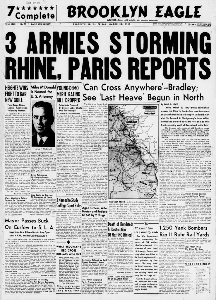 March 23: ON THIS DAY in 1945, 3 armies storming Rhine, Paris reports
