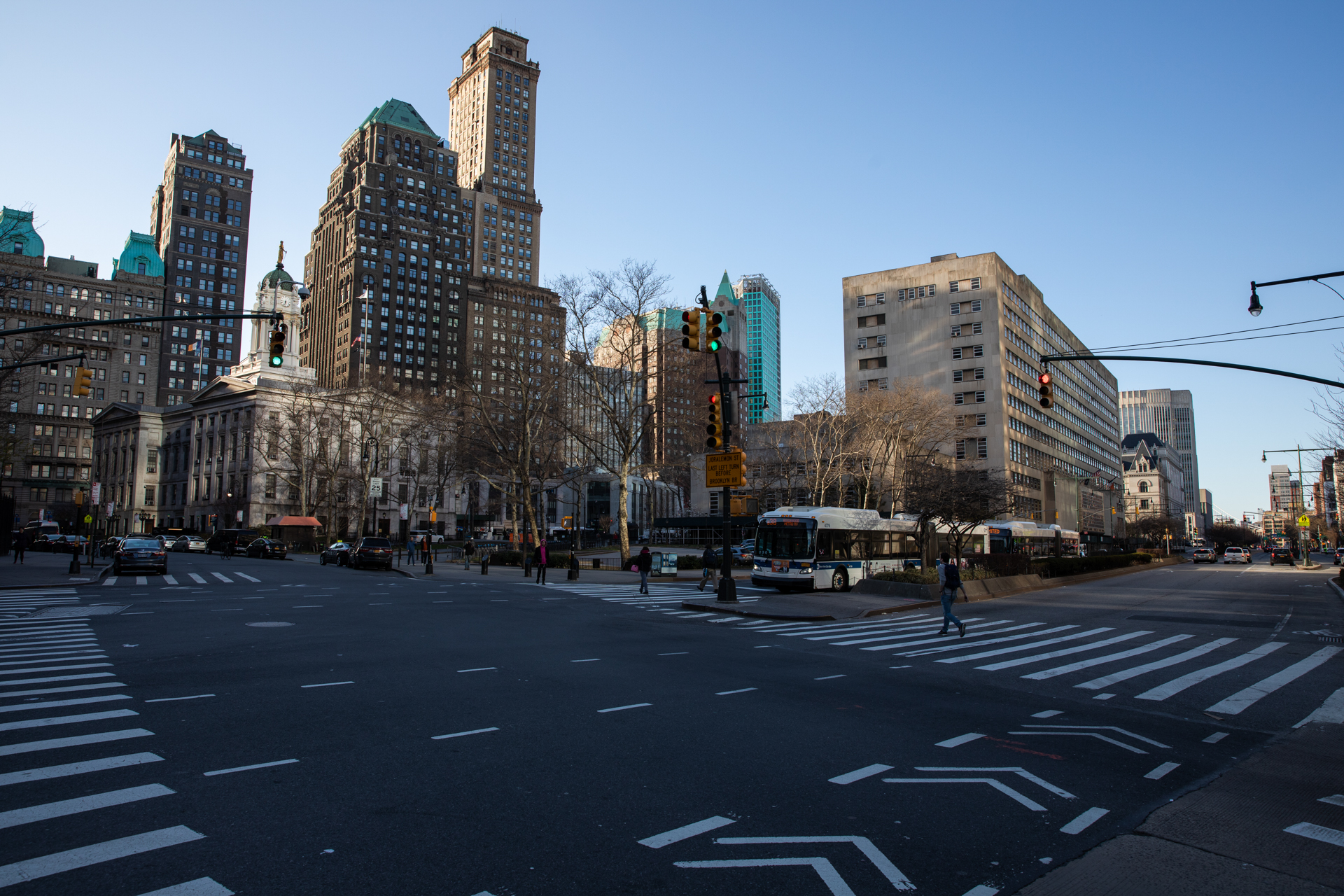 The pedestrian crosswalk from Fulton Street to Brooklyn Borough Hall and the Municipal Building at 5:40 p.m. The street usually hosts crowds of people.