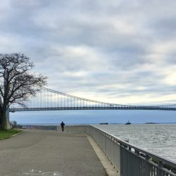 Bay Ridge residents exercising on Shore Road Promenade get an eyeful of the Verrazzano-Narrows Bridge before sunset. Photo: Lore Croghan/Brooklyn Eagle